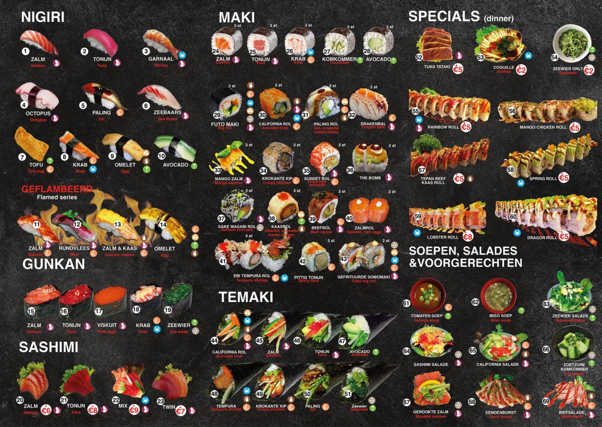 Achterkant menu